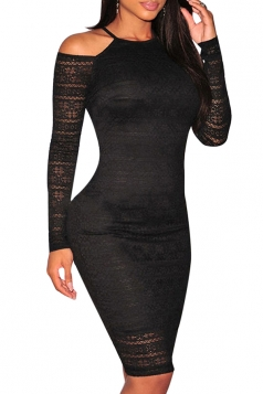 Womens Sexy Crewneck Off Shoulder Package Hip Clubwear Dress Black