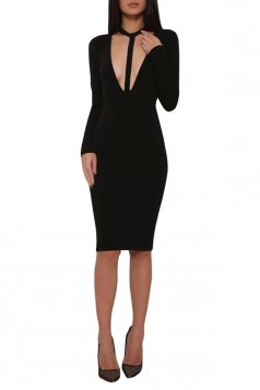 Womens Sexy Plain V Neck Long Sleeve Bandage Clubwear Dress Black