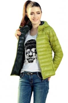 Womens Plain Hooded Zipper Cotton-padded Short Down Jacket Green