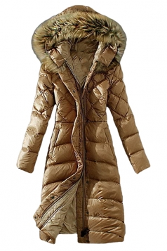 Womens Plain Slim Fur Collar Hooded Zipper Lengthen Down Coat Khaki
