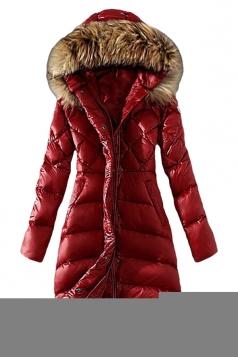 Womens Plain Slim Fur Collar Hooded Zipper Lengthen Down Coat Red