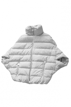 Womens Stand Collar Batwing Sleeve Poncho Style Down Jacket White
