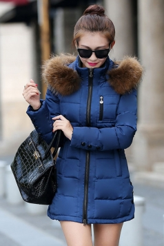 Womens Plain Fur Collar Hooded Zipper Oversized Down Jacket Navy Blue