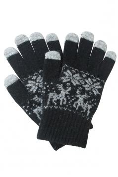 Womens Christmas Deer Snowflake Printed Touch Screen Gloves Black