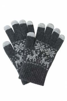 Womens Christmas Deer Snowflake Printed Touch Screen Gloves Dark Gray