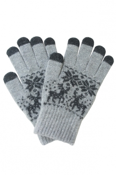 Womens Christmas Deer Snowflake Printed Touch Screen Gloves Light Gray