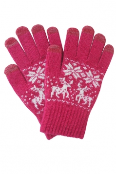 Womens Christmas Deer Snowflake Printed Touch Screen Gloves Red