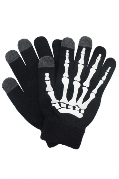 Womens Hand Skeleton Pattern Touch Screen Gloves Black