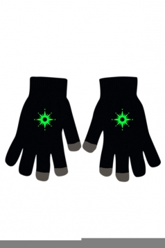 Womens Chic Noctilucent Stars Full Finger Touch Screen Gloves Black