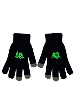 Womens Chic Noctilucent Dragon Full Finger Touch Screen Gloves Black