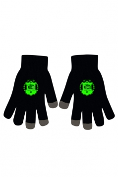 Womens Chic Noctilucent XOXO Full Finger Touch Screen Gloves Black