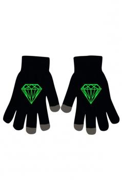 Womens Chic Noctilucent Diamond Full Finger Touch Screen Gloves Black