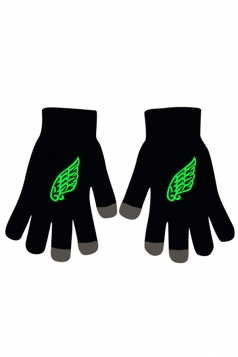 Womens Chic Noctilucent Wings Full Finger Touch Screen Gloves Black