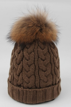 Womens Plain Warm Real Raccoon Fur Pom Pom Cable Knit Hat Khaki