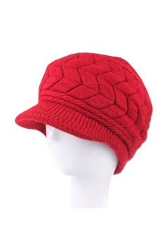 Womens Warm Leaf Pattern Knitted Peaked Cap Rabbit Fur Hat Red