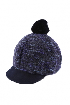 Womens Pom Pom Knitted Peaked Cap Warm Woolen Hat Navy Blue