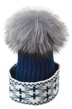 Womens Real Fox Fur Pom Pom Geometric Print Warm Knit Hat Navy Blue