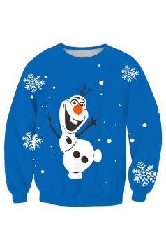 Womens Crewneck Long Sleeve Olaf Printed Christmas Sweatshirt Blue