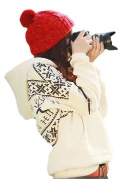 Womens Fair Isle Deer Printed Long Sleeve Christmas Hoodie Beige White