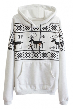 Womens Fair Isle Deer Printed Long Sleeve Christmas Hoodie Gray