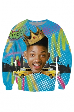 Womens Will Smith Fresh Prince of Bel Air 3D Print Sweatshirt Blue