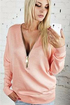 Womens Plain Sexy Deep V-Neck Batwing Long Sleeve Sweatshirt Pink