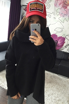 Womens Trendy Plain Polo Neck Irregular Pullover Sweatshirt Black