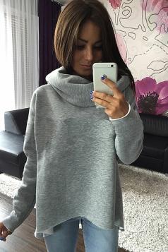 Womens Trendy Plain Polo Neck Irregular Pullover Sweatshirt Gray