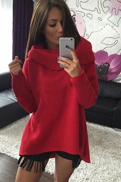 Womens Trendy Plain Polo Neck Irregular Pullover Sweatshirt Red
