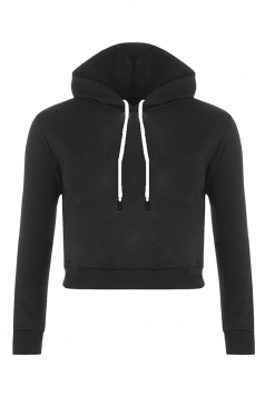 Womens Sexy Active Drawstring Long Sleeve Cropped Hoodie Black