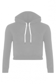 Womens Sexy Active Drawstring Long Sleeve Cropped Hoodie Light Gray