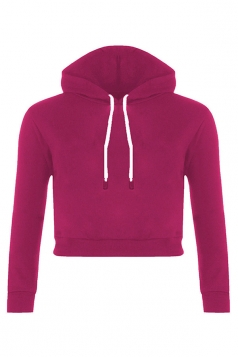Womens Sexy Active Drawstring Long Sleeve Cropped Hoodie Purple