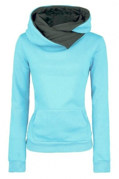 Womens Funnel Neck Color Block Kangaroo Pocket Pullover Hoodie Blue