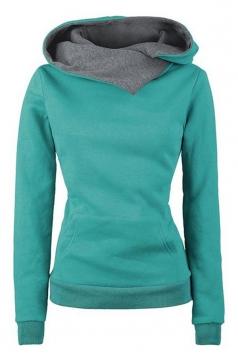 Womens Funnel Neck Color Block Kangaroo Pocket Pullover Hoodie Green