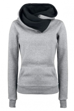 Womens Funnel Neck Color Block Kangaroo Pocket Pullover Hoodie Gray