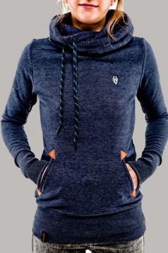Womens Stylish Long Sleeve Pocket Design Embroidered Hoodie Blue