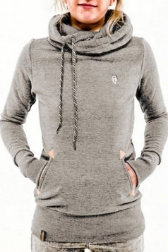 Womens Stylish Long Sleeve Pocket Design Embroidered Hoodie Light Gray