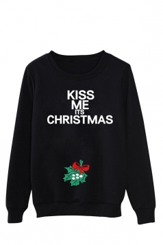 Womens Letter Print Long Sleeve Pullover Christmas Sweatshirt Black