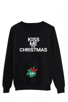 Womens Letter Print Long Sleeve Pullover Christmas Sweatshirt Black