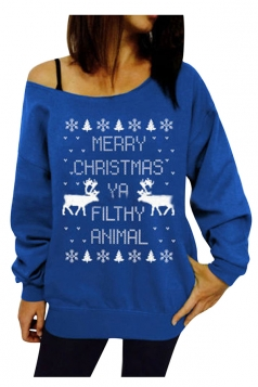 Womens Long Sleeve Skew Neck Christmas Print Ugly Sweatshirt Blue