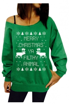 Womens Long Sleeve Skew Neck Christmas Print Ugly Sweatshirt Green