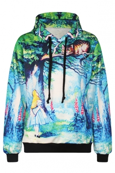 Womens Green Forest Alice and Cat Digital Print Pullover Hoodie Blue