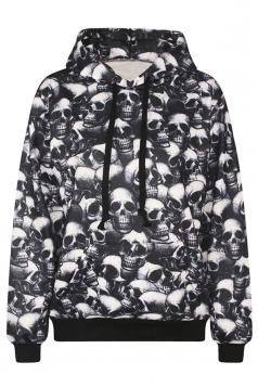 Womens Horrible Skull 3D Digital Print Pullover Hoodie Black