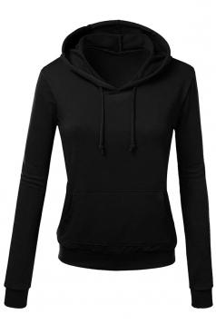 Womens Slim Plain Long Sleeve Active Drawstring Pullover Hoodie Black