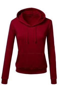 Womens Slim Plain Long Sleeve Active Drawstring Pullover Hoodie Ruby