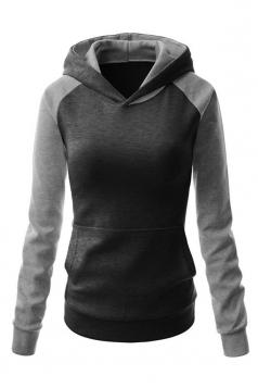 Womens Chic Color Block Raglan Long Sleeve Pullover Hoodie Dark Gray