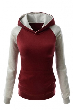 Womens Stylish Color Block Raglan Long Sleeve Pullover Hoodie Ruby