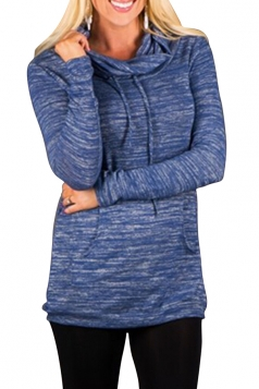 Womens Drawstring Long Sleeve Cowl Neck Pullover Sweatshirt Blue