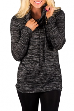 Womens Drawstring Long Sleeve Cowl Neck Sweatshirt Dark Gray