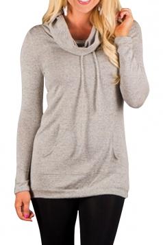 Womens Drawstring Long Sleeve Cowl Neck Pullover Sweatshirt Khaki